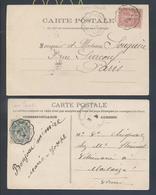 Ambulant Convoyeur Ligne Château Du Loir à Saumur Avec Et Sans Tirets 111 Blanc 1906 CP Breil 129 Semeuse 1904 Marcilly - Railway Post