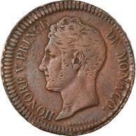 Monnaie, Monaco, Honore V, Decime, 1838, Monaco, TB+, Cuivre, Gadoury:105 - 1819-1922 Honoré V, Charles III, Albert I