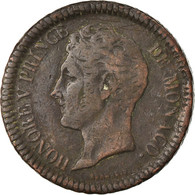 Monnaie, Monaco, Honore V, Decime, 1838, Monaco, TB, Cuivre, Gadoury:105 - 1819-1922 Honoré V, Charles III, Albert I