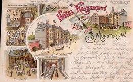 Gruss Aus Dem Hotel Kaiserhof, Münster In Westfalen. Wintergarten, Speise-Saal, Etc., Soldatenbrief 1898. - Muenster