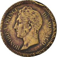 Monnaie, Monaco, Honore V, Decime, 1838, Monaco, Cuivre Jaune, TB+, Cuivre - Monaco