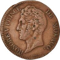 Monnaie, Monaco, Honore V, 5 Centimes, Cinq, 1837, Monaco, TTB, Cuivre - Monaco