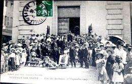 69 NEUVILLE FETE DES JARDINIERS 1907 FOLKLORE COUTUMES GRANDE ANIMATION - Neuville Sur Saone
