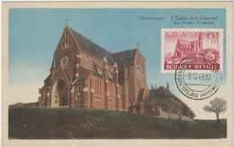 Carte Maximum BELGIQUE  N°Yvert 778 (Eglise De Chèvremont) Obl Sp Vaux Sous Chèvremont  8.12.48 (Type 2) - Maximumkarten (MC)