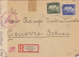 Lettre Rec (Schkopau 2) Obl. Schkopau 2 (ü Merseburg) Le 27/9/43 Sur TP 25pf + 30pf (étranger) Pour Genève + Censure - Germania