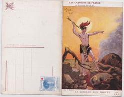 Carte-Livret Chanson Chansons De France Maurice Boukay La Chasse Aux Fauves Général Sarrail Pinx Gerbault Loup Sanglier - Patriotiques