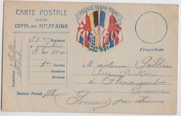 Carte Postale Franchise Pour Civil Ou Militaire France Quand-Même ! Albert Pellier Flixecourt 51e Régiment D'Infanterie - Cartes De Franchise Militaire