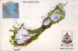 BERMUDA / BERMUDAS , T.P.  NO CIRCULADA , COAT OF ARMS , ESCUDO DE ARMAS Y MAPA DE LA ISLA - Bermudes