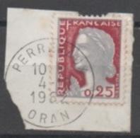 Algérie, N°1263 De France (Decaris) Oblitéré De PERREGAUX (ORAN) En Octobre 1962 Non Surchargé EA - Argelia (1962-...)