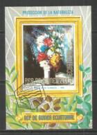 Equatorial Guinea 1972 Year , Used Block  Painting Flowers - Guinea Equatoriale