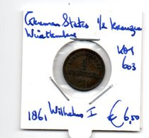 GERMAN STATES WURTTEMBERG 1/2 KREUZER 1861 WILHELM I - [ 1] …-1871: Altdeutschland