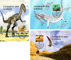 3 Maximumkarten 2010 Saurier / Dinosaures Carnivores / Ptérosaures / Ichthyosaures - Cartes-Maximum (CM)