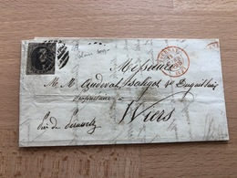 Pli 6A De Tournay P120 8 Barres Vers Wiers Près De Peruwelz 19 Mars 8-9S 1857 Médaillon Légèrement Touché - 1851-1857 Medallones (6/8)