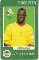 TOGO - FIFA World Cup 2006/Abalo Yaovi Dotse, Hello Thailand, Togocel Prepaid Card 9000 FCFA, Used - Togo