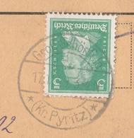Deutsches Reich Karte Mit Tagesstempel Gross Schönfeld 1929 Kr Pyritz Obryta RB Stettin Pommern - Storia Postale
