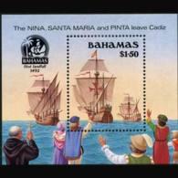 BAHAMAS 1990 - Scott# 692 S/S Columbus Fleet MNH - Bahamas (1973-...)