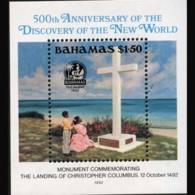 BAHAMAS 1992 - Scott# 753 S/S Columbus Monument MNH - Bahamas (1973-...)