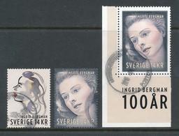 Sweden 2015 Facit # 3081-3082 A + B. Ingrid Bergman 100 Years Anniv. USED - Zweden