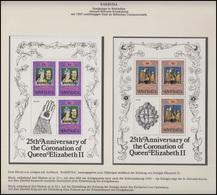 Barbuda Jubiläum Elizabeth II. Krönungszeremonie & Krönungsinsignien 5 Blöcke ** - Case Reali