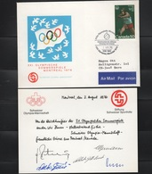 JO76-E/L16 - CANADA FDC Par Avion De La Cérémonie De Clôture Des Jeux Olympiques De Montréal De L'équipe OlympiqueSuisse - 1952-.... Règne D'Elizabeth II