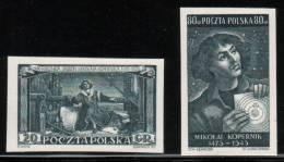 POLAND 1953 RARE NICHOLAS COPERNICUS BLACK PROOF SET OF 2 MNH (NO GUM) ASTRONOMY ASTRONOMERS SPACE Famous Poles - Berühmt Frauen