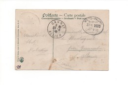 P151 CPA METZ Place Du Théatre Timbre Cachet Ferroviaire  METZ - PAGNY Convoi 1073 Le 27 9 1910 - Railway Post