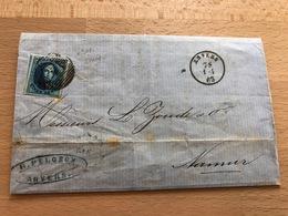N°11? Pli Commercial D'Anvers Vers Namur 1 Avril 1863 G. Pelgrom Anvers Médaillon Avec 3 Voisins TTB Rousseur - 1858-1862 Medallions (9/12)