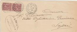 Villanova Monteleone. 1899. Annullo Grande Cerchio VILLANOVA MONTELEONE + Ovale SINDACO, Su Fascetta Diretta A Sassari - 1878-00 Umberto I
