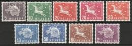 Suisse, Helvetia 1957 + 1960 Union Postale Universelle -complete MNH**- Yvert S381-s386 + Yv 417-419 - Dienstpost