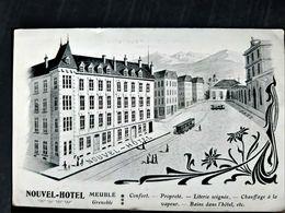 38 GRENOBLE NOUVEL HOTEL MEUBLE CARTE DESSINEE FACE A LA GARE CARTE 1900 TENANT LIEU DE NOTE - Grenoble