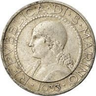 Monnaie, San Marino, 5 Lire, 1933, Rome, TB+, Argent, KM:9 - San Marino