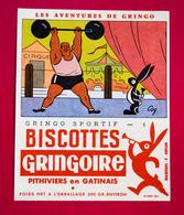 Buvard Biscottes GRINGOIRE, Gringo Sportif N° 1, Cirque, Haltérophilie, Signé Coq - Biscottes