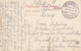CP En Feldpost Obl MÜLHAUSEN (ELS) - / * DORNACH * Du 9.11.14 Adressée à Dreden - Alsace Lorraine