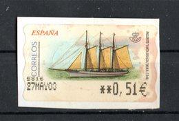 """SPAGNA :  Etichetta Da ATM - Veliero """"S.ta  Eulalia  - 1 Val.  Su Frammento   Del  Maggio  2002 - 1931-Heute: 2. Rep. - ... Juan Carlos I"""