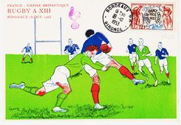 France ,sport: Rugby à XIII  , France -empire Britanique En 1953 à Bordeaux TB - Marcophilie (Lettres)
