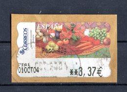 SPAGNA :  Etichetta Da ATM - Dipinto Con Frutta E Verdure  - 1 Val.  Su Frammento   Dell'Ottobre  2003 - 1931-Heute: 2. Rep. - ... Juan Carlos I