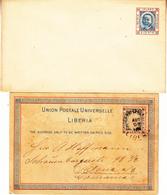 LIBERIA  1890 POSTAL STATIONARY UNUSED& POSTCARD USED To GERMANY 1891 PRESIDENTS FACE SCRAPED AWAY. - Liberia