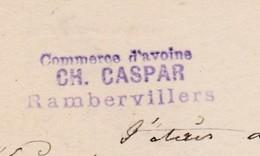 Carte Commerciale 1884 / Entier / Ch. CASPAR / Commerce D'avoine / 88 Rambervillers Vosges / Pour Moussey - Other