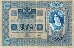 Autriche Austria 1000 Kronen 2 Januar 1902 Surcharge Deutschösterreich P 8b - Austria