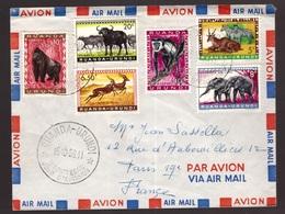 Ruanda Urundi, 1959 Multifranked Fdc Cover To France With Wildlife Stamps -CS70 - Ruanda-Urundi