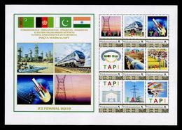 2018 Turkmenistan Afghanistan Pakistan India TAPI GAS PIPELINE 9 Stamps 1 List RARE - Turkmenistan