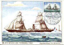 """CPM.84.VAUCLUSE.AVIGNON.JOURNÉE DU TIMBRE 1965.PAQUEBOT-POSTE """" LA GUIENNE """" - Avignon"""