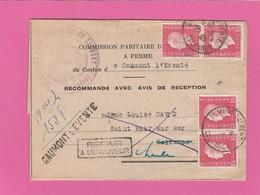 Calvados - Caumont L'Eventé - Recommandé Avec AR - Marianne De Dulac + Retour à L'envoyeur 1945 - 1921-1960: Periodo Moderno