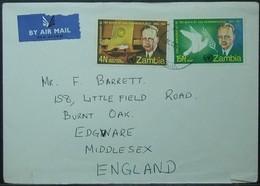 Zambia - Airmail Cover To England 1971 UNO Peace Dag Hammarskjold - Zambia (1965-...)