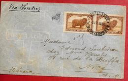 Enveloppe AEROPOSTAL B.A. ARGENTINA 1946 - Por Via Aerea Pour NICE (FRANCE) VIA LONDRES (GB) Bande Timbre LANAS 30c (F95 - Poste Aérienne