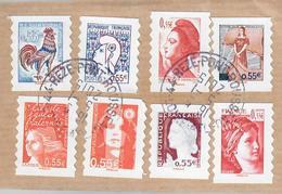 """YT AA225(1) 226-227-228-231-232-233-234-timbres Autoadhesifs """"visages De La Veme Republique, Obl Cachets Ronds Fragment - Used Stamps"""