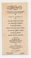 Menu 1946 Mariage Hôtel Du Croissant Savigny Sur Braye - Menus