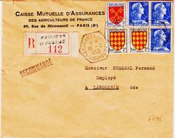 France, De Naujeac Et Postiac En 1958 , Recommandée , ( Agence Postale De Gironde )  TB - Marcophilie (Lettres)