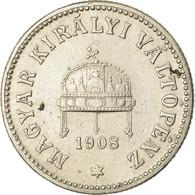 Monnaie, Hongrie, Franz Joseph I, 10 Filler, 1908, Kormoczbanya, TTB, Nickel - Hungría