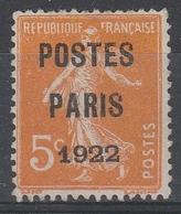 PREO 30 Sans Gomme - 5c PRANGE POSTE PARIS 1922 - 1893-1947